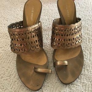 Nine West gold leather sandals